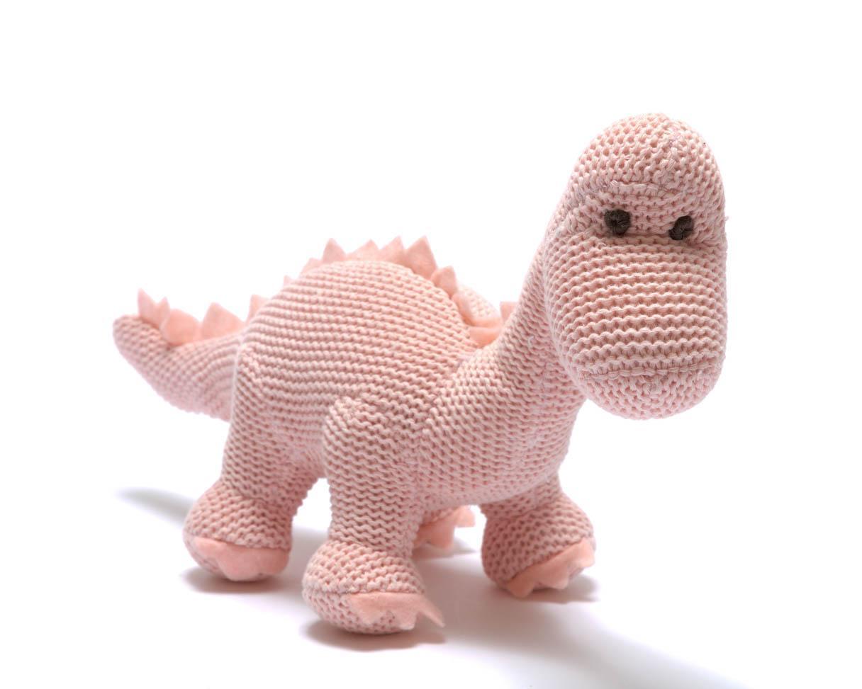 Dinosaurs : Organic Pink Diplodocus Knitted Dinosaur Rattle