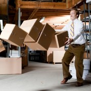 Man dropping boxes