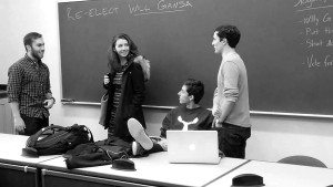 The Gansa campaign (minus Horvath '17) convenes in a Frist classroom earlier this year.