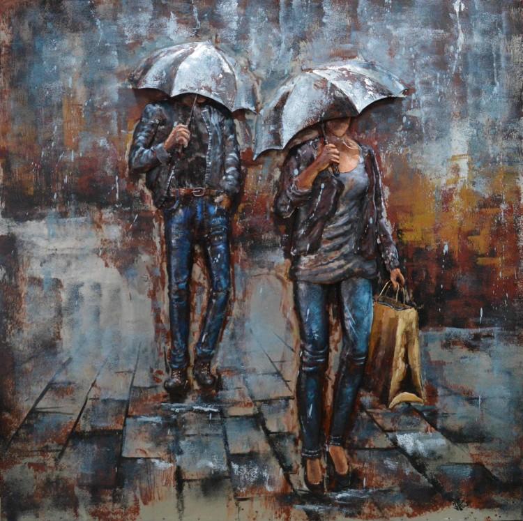 Schilderij Mannen in de regen te koop  Betaalbarekunstnl