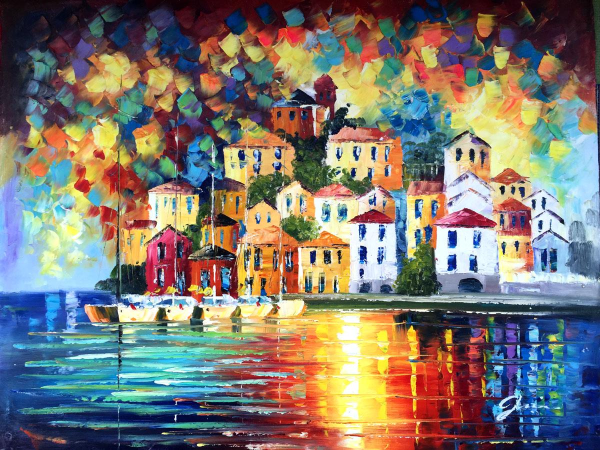 Schilderij Kleurrijke huisjes aan zee te koop