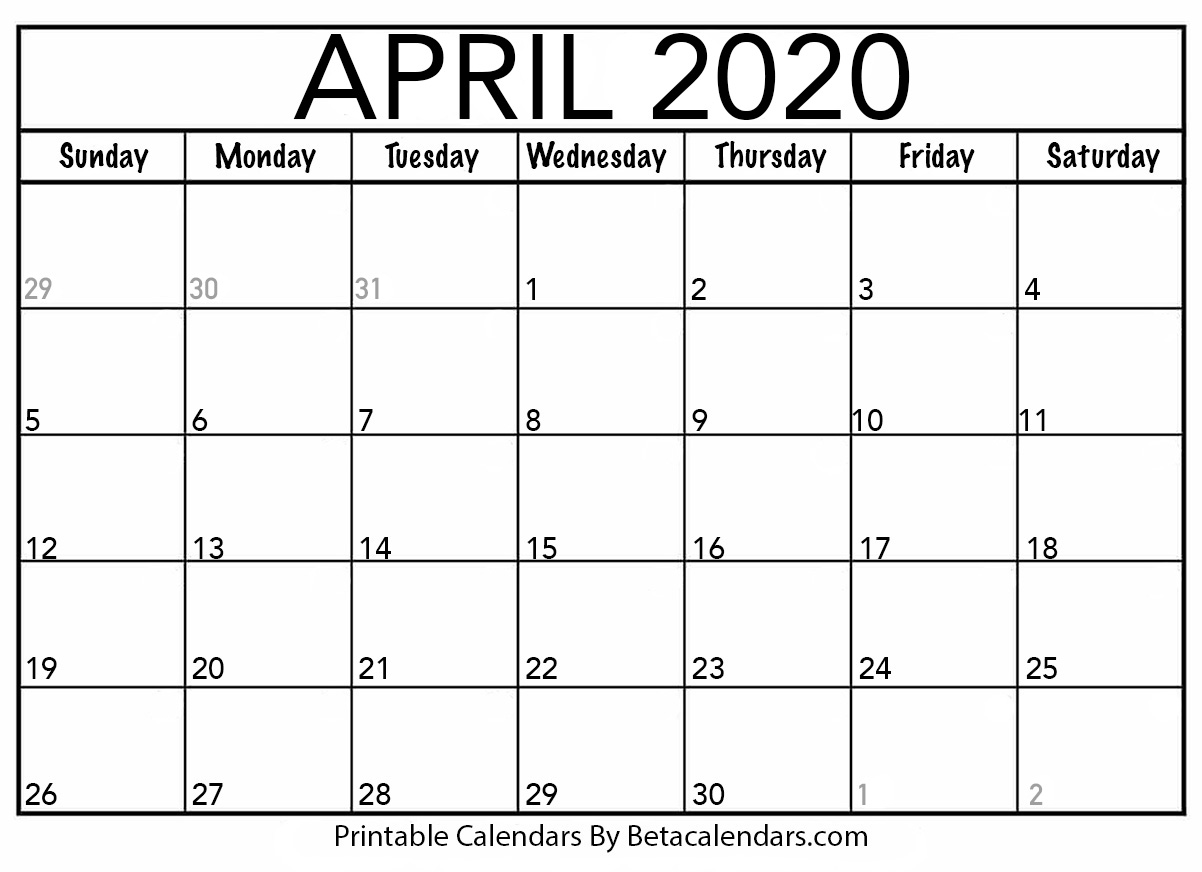 Blank April Calendar Printable