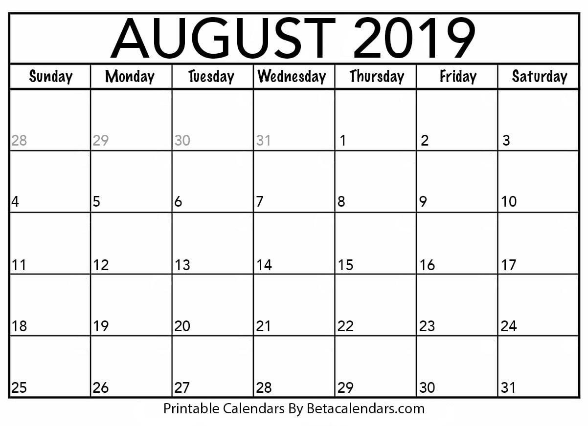 Blank August Calendar Printable