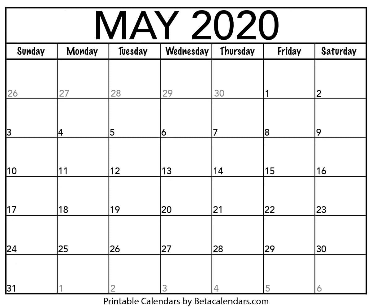 Printable May Calendar