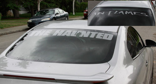 Thehaunted in flames car sticker