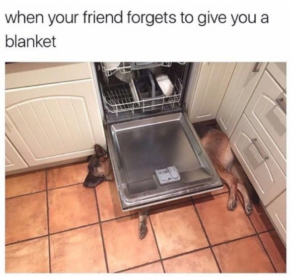when your friend forgets to give you a blanket