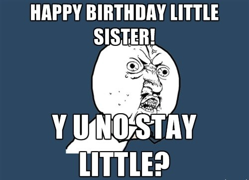 happy birthday meme for little sister