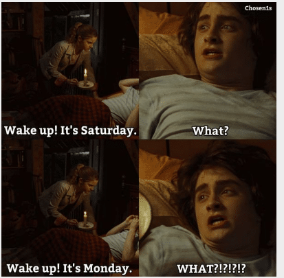 wake up its monday potter funny image