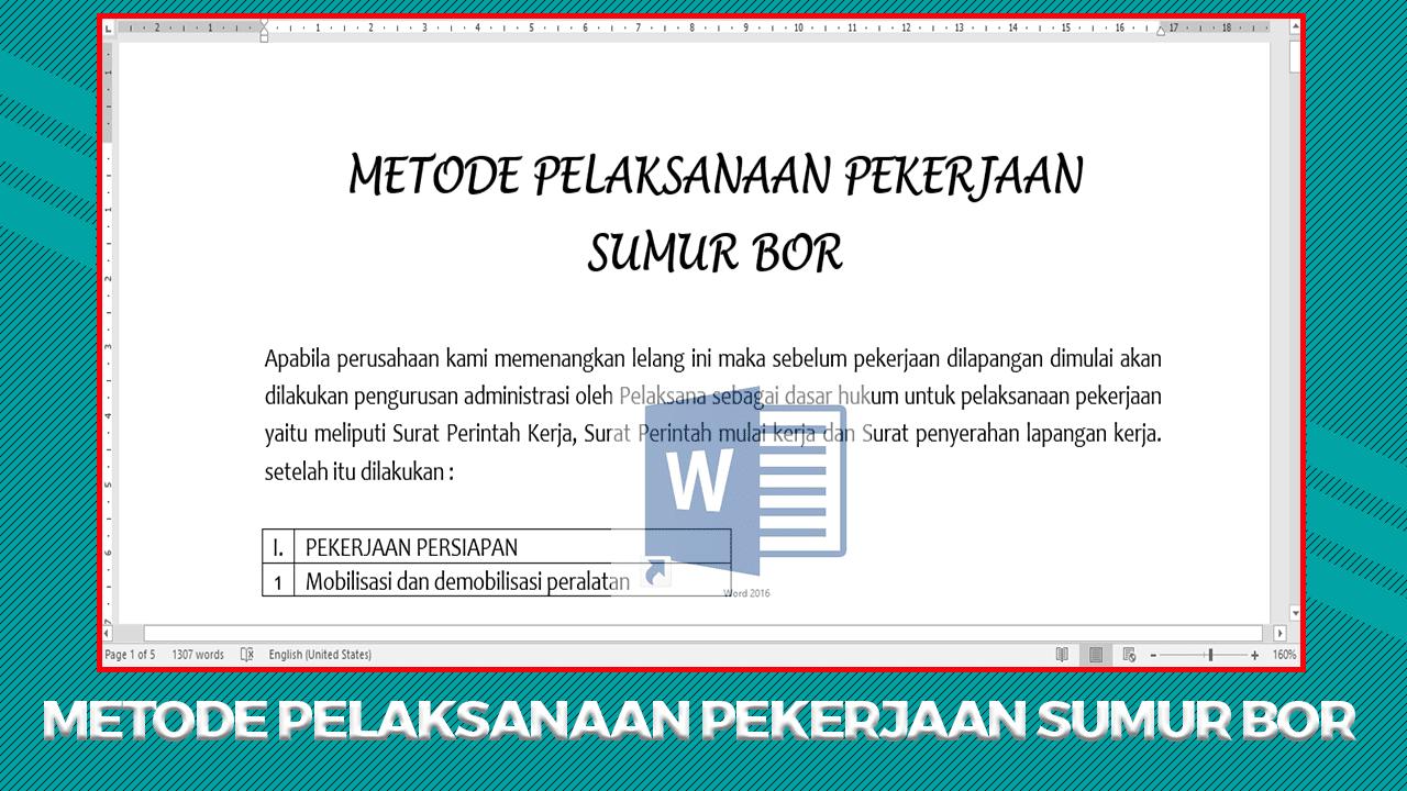 Metode Pelaksanaan Pekerjaan Sumur Bor file DOC