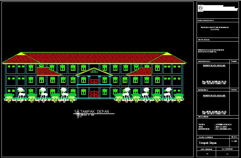 Gambar Rumah Sakit 3 Lantai Bestek Lengkap DWG AutoCAD