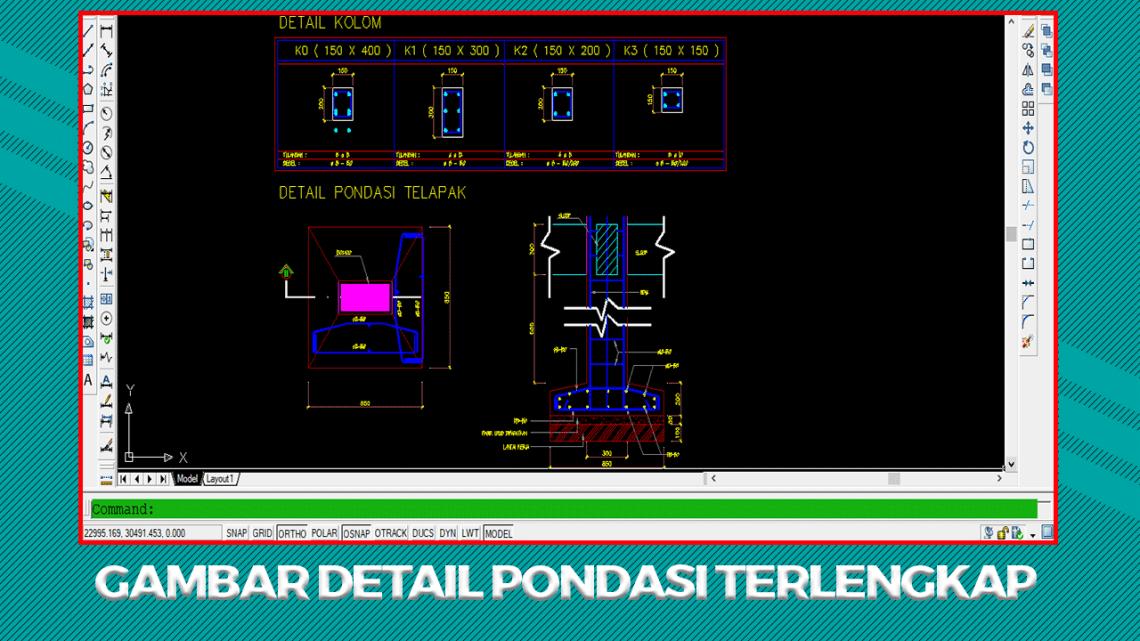 Gambar Detail Pondasi Format Autocad DWG