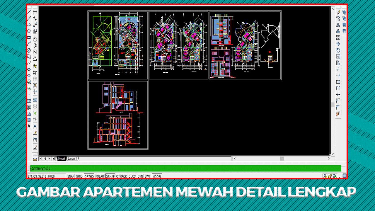 Gambar Kerja Apartemen Autocad (DWG) Terlengkap