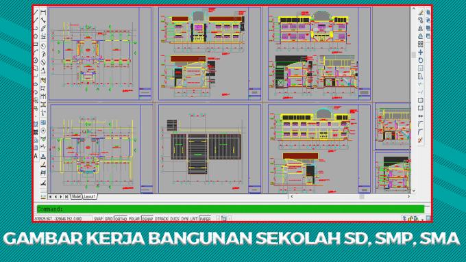 Gambar Kerja Bangunan Sekolah SD, SMP, SMA File DWG Autocad