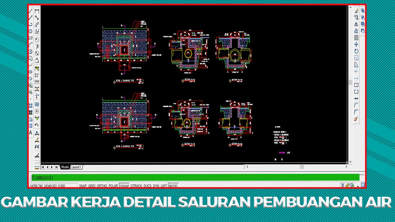 Gambar Kerja Detail Saluran Pembuangan Air (Got/Selokan) File DWG AutoCAD