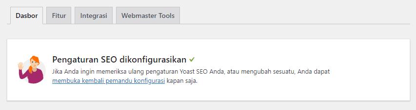 Bila ketika pertama kali menginstall plugin Yoast SEO WordPress Anda tidak diarahkan untuk mengikuticonfiguration wizard, maka masuk ke menuSEO=>Generaldan di tabDashboard