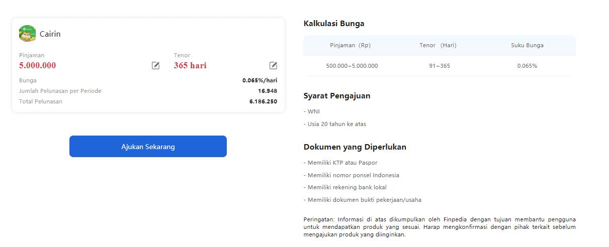 Informasi Detail Pinjaman Online di Finpedia melalui mitra CAIRIN