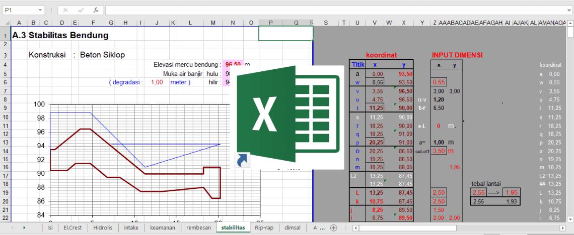 Download File Perhitungan Desain Hidrolis Bendungan Excel