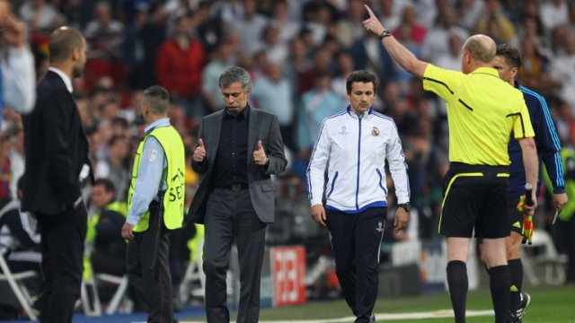 Mourinho is sent to the stands - and would later launch an attack on UEFA officials