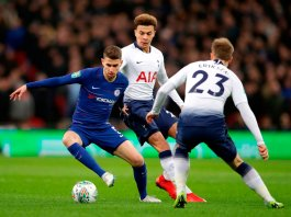 Jorginho takes on Alli and Eriksen