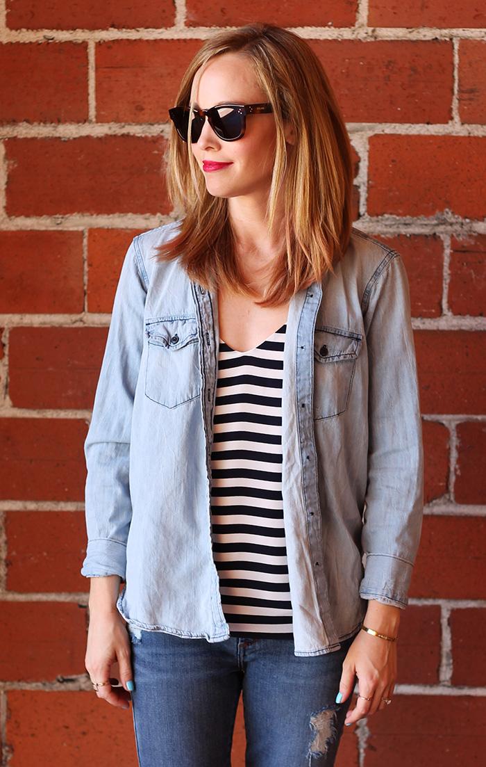 chambray, stripes, stripe tank, J.Crew stripe shirt, celine sunglasses