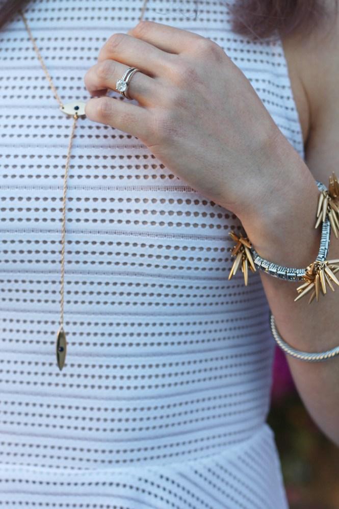 accessory concierge, lariat necklace, evil eye necklace, j.crew bracelet, spike bracelet, starburst bracelet, perforated dress, mesh dress
