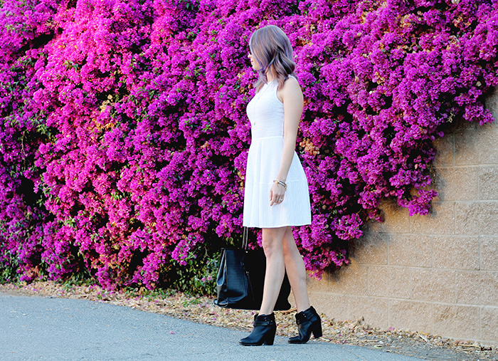 white dress, black booties, rag and bone boots, BCBG dress, perforated dress, sporty dress, casual dress, purple hair
