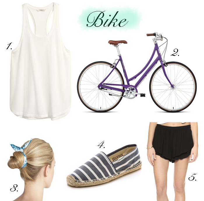 outfits for bike rides, purple bikes, commuter bikes, cute outfits to wear on bike rides, summer bike ride outfit ideas