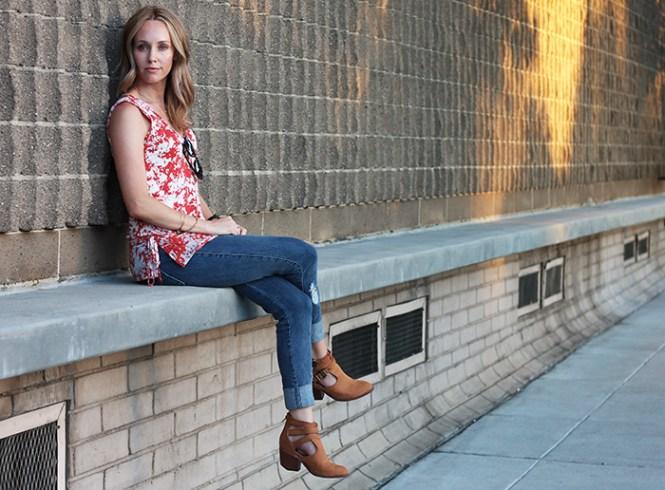 cutout booties, brown booties, tie dye tank, summer tank tops, distressed denim, james jeans
