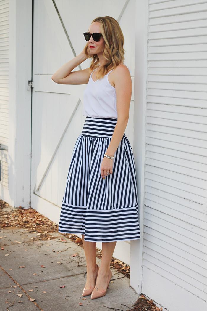striped skirt, midi skirt, summer skirts, christian louboutins
