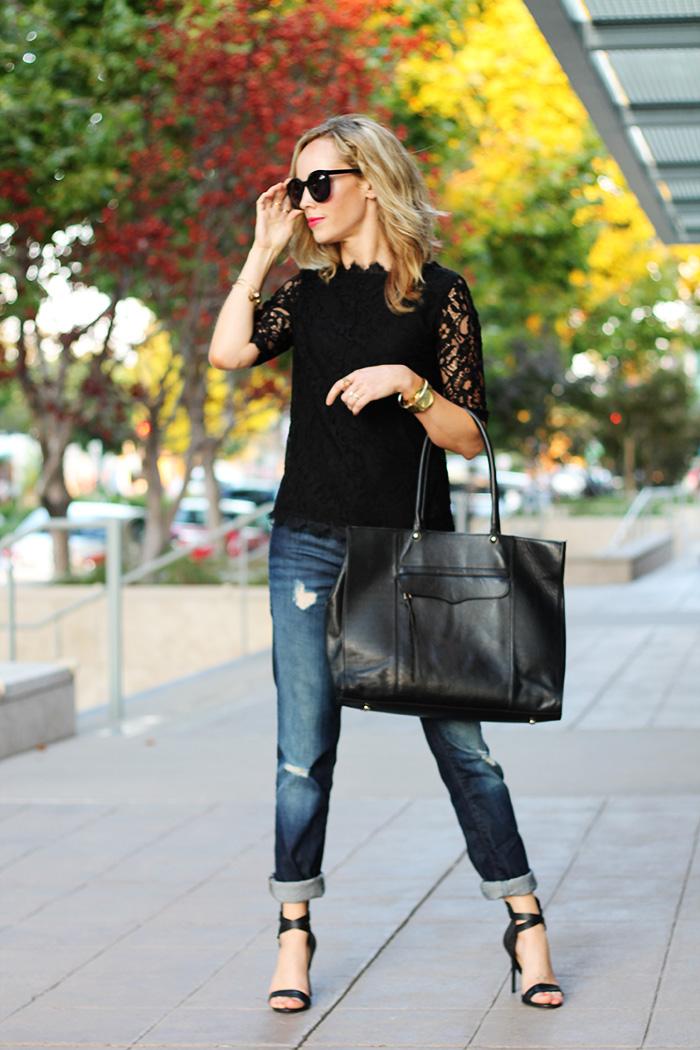 rebecca minkoff MAB, rebecca minkoff tote, lace shirt, black lace shirt, piperlime lace shirt, alex + ani bracelets, alex and ani