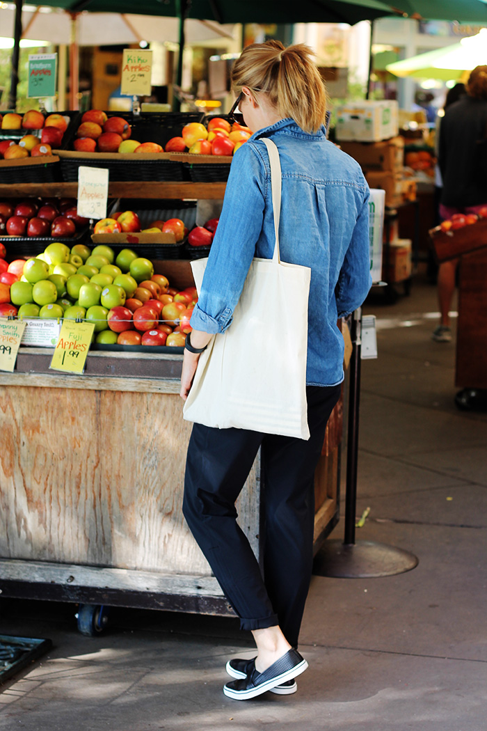 j.crew chambray. athleta pants, DV shoes, perforated leather flats, black flats, casual outfit ideas