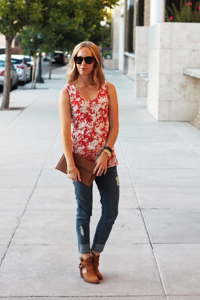 brown clutch, susu clutch, orange and white top, Celine sunglasses, casual outfit ideas