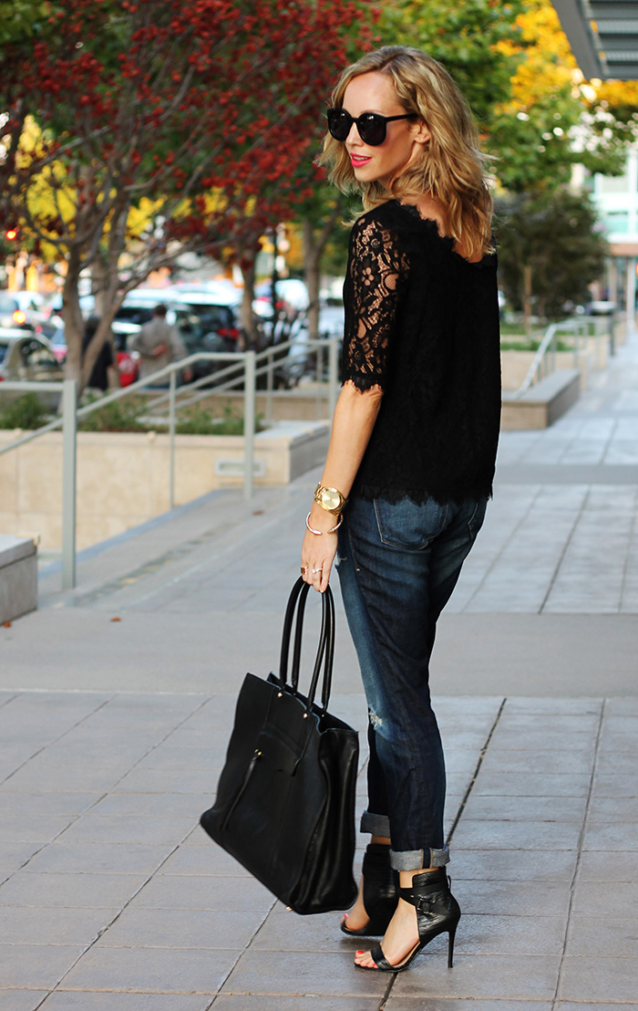 lace shirt and jeans