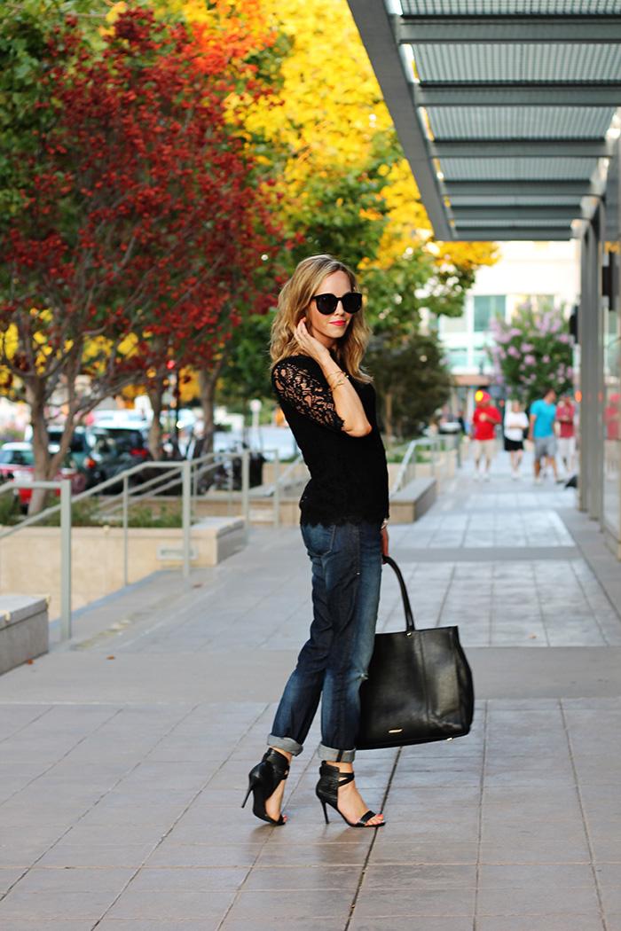 lace to work, work shirt, piperlime, rebecca minkoff bag, rebecca minkoff MAB, work bags, black work tote, black tote, mavi jeans, boyfriend jeans