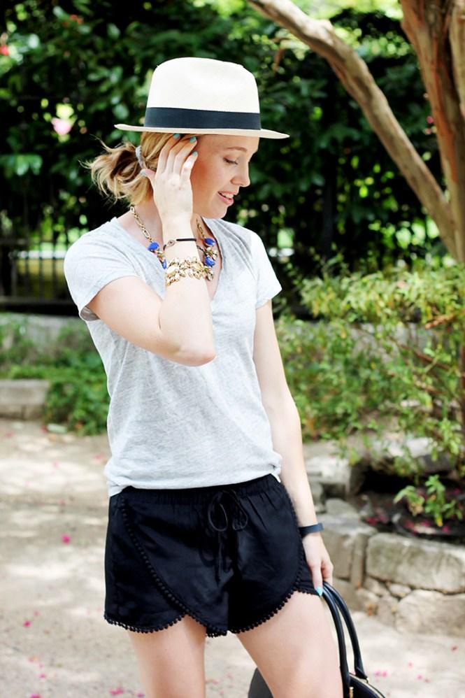j.crew shirt, basic shirt, basic tee, lovers + friends la shorts, casual shorts, j.crew hat,