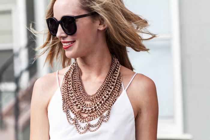 rose gold necklace, baublebar Courtney bib, white dress, Karen Walker Superduper sunglasses, nars heatwave lipstick