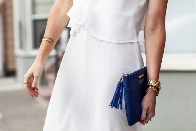 white dress, summer dress, gigi new york clutch, monogram clutch, cobalt blue clutch, cara bracelet, michael kors slim runway watch
