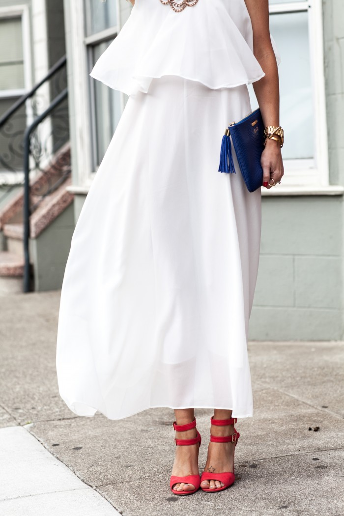luichiny, red heels, white dress, blue clutch, red white and blue outfits