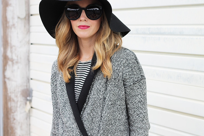 YSL lipstick #25, floppy wool felt hat, stripe tank top, knit cardigan, layered tank