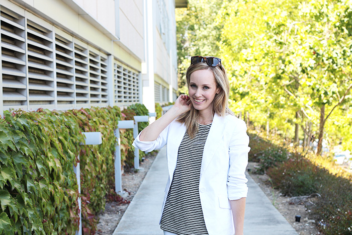 office style, white blazer, striped tank, madewell tank, celine sunglasses