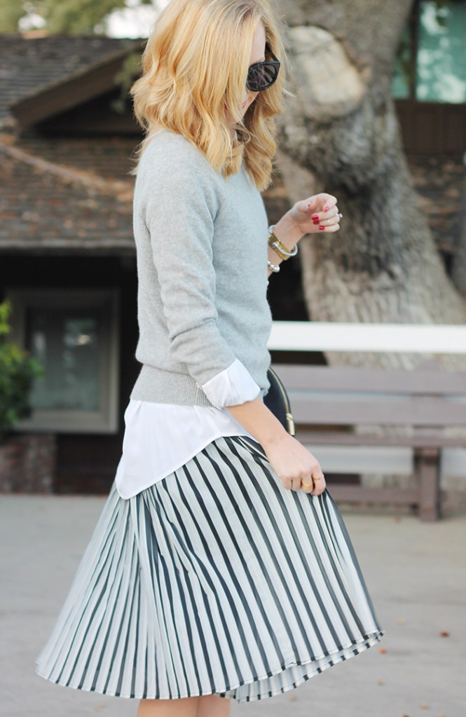 stripe skirt, black and white stripe skirt, cashmere sweater, Nordstrom cashmere sweater, outfit ideas for work, pleated skirt, piperlime pleated skirt, black and white pleated skirt, equipment shirt,