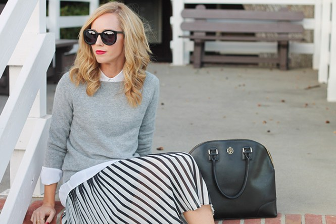 whit equipment shirt, white silk shirt, karen walker super duper, mid length hair styles, red lipstick, office outfit ideas, day to night outfits, black & white stripe skirt, Nordstrom sweater, what to wear with stripes,