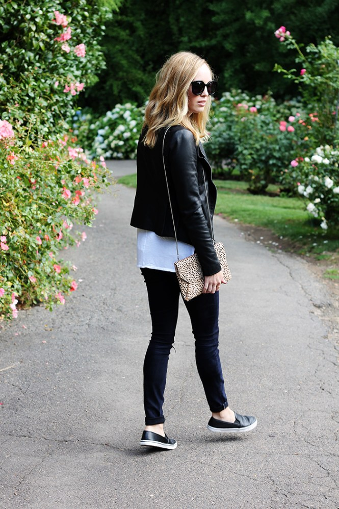 black perforated flats, black skinny jeans, vince jacket, vince leather jacket, rag and bone tank, karen walker super duper strength sunglasses, rose garden portland