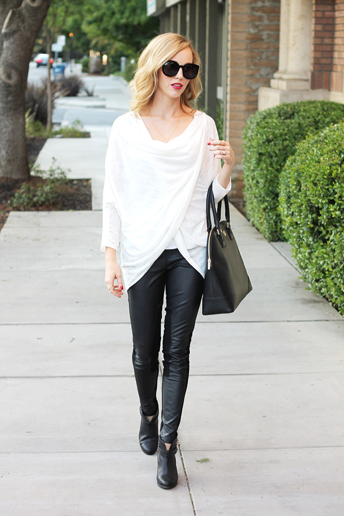 black and white outfits, wrap sweater, thin sweater, leather leggings, tory burch robinson dome, mom style bloggers