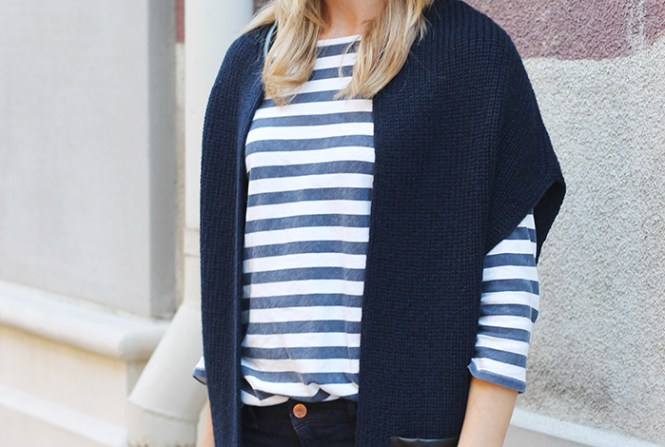 Outfit layering, J.crew factory striped shirt, 3/4 sleeve skirt, navy and black outfits