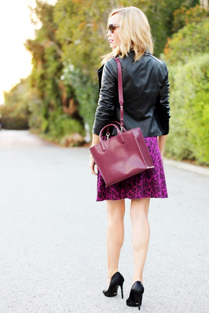 zara bag 2014, vinve leather jacket, purple leopard dress,