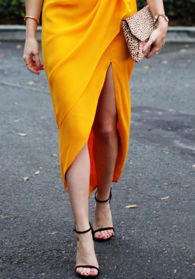 stuart weitzman nudist, minimalist heels, formal sandals, yellow formal dress