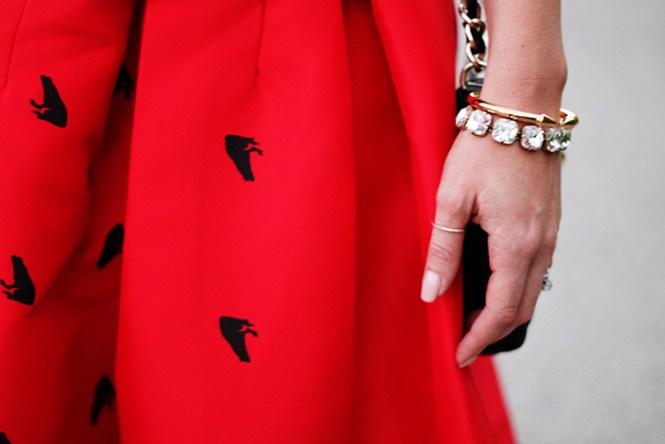 red skirt, red a line skirt, red full skirt, red shinside shirt, full holiday skirts, cheap skirts, thumb ring, gorjana griffin pave ring, j.crew bracelet