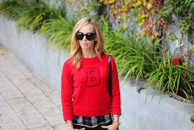 B sweater, red sweater, sweater layered, splendid plaid shirt. plaid splendid top, karen walker super duper sunglasses