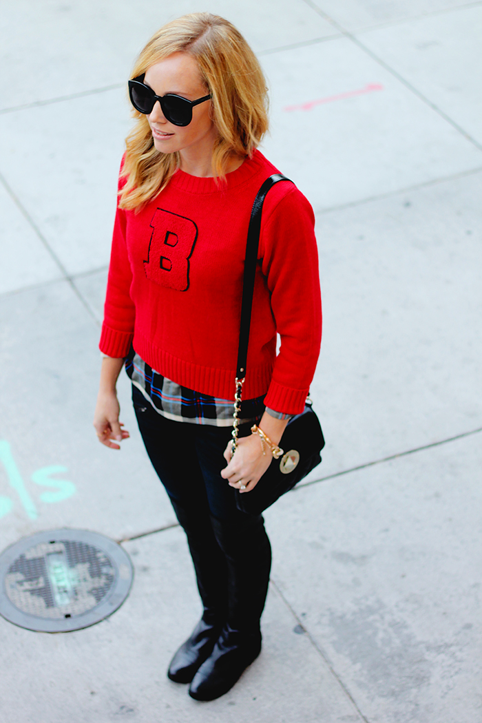 B sweater, red sweater, sheinside, splendid top, rag and bone jeans, over the knee boot, kate spade quilted bag, mom style